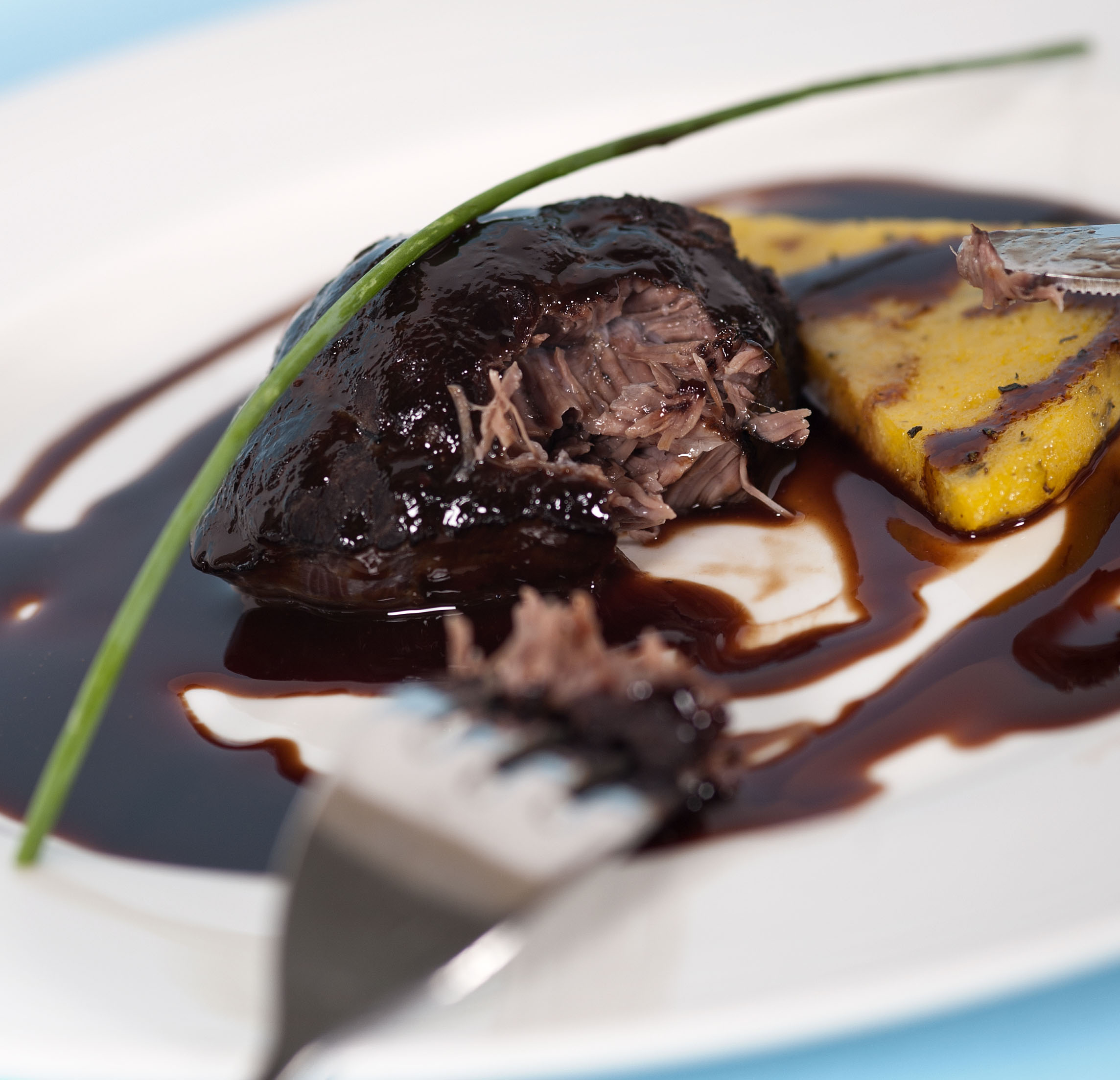 Braised pig cheek, Maderia sauce